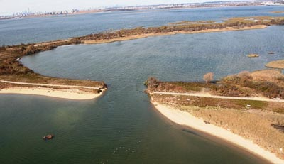 The breach in the West Pond caused by Hurricane Sandy, National Park Service photo
